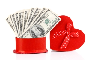 Heart-Shaped Gift Box Full of Money